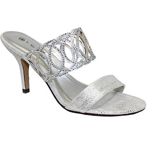 FANTASIA BOUTIQUE FLR356 Tatiana Soirée Pour Femme Strass À Enfiler Métallique Mule Chaussures Talon Haut