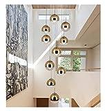 Redstone lighting Moderne Treppe Kronleuchter 6/10 Glaskugeln Kreative Persönlichkeit Villa Wohnzimmer Lampe Minimalistischen Lange Pendelleuchte (Farbe : Gold, größe : 10 Heads)
