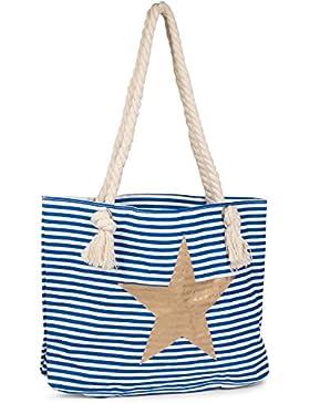 [Gesponsert]styleBREAKER Strandtasche in Streifen Optik mit Stern, Schultertasche, Shopper, Damen 02012037