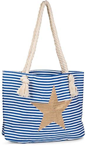 styleBREAKER Strandtasche in Streifen Optik mit Stern, Schultertasche, Shopper, Damen 02012037, Farbe:Blau-Weiß/Gold