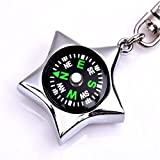 Generic Five-pointed Star Compass Pendant Key Chain Key Ring