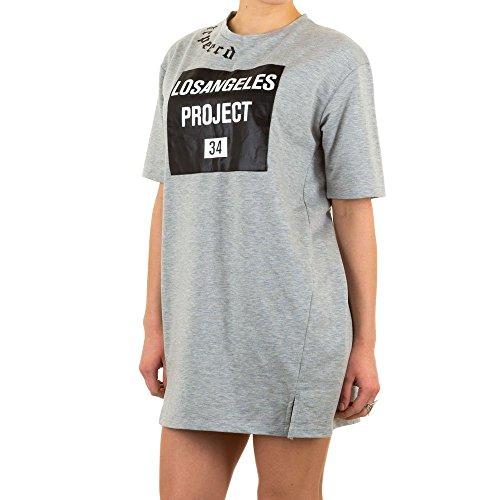 Schuhcity24 Damen Tunika Elastische Pullover Print Grau M/L (Tochter Dunklen Womens T-shirt)