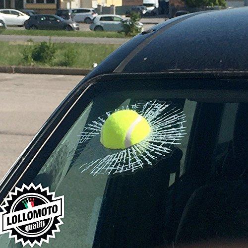 Kit Adesivo 3D Pallina Tennis Vetro Rotto Parabrezza Vetri Auto Stickers 3D Simpatico Scherzo Lollomoto