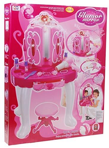 Frisiertisch Schminkkommode Schminktisch Schminkstudio Kinderschminktisch Set mit Spiegel und Hocker - 9