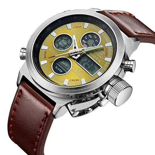 Herren Big Face Military Analog Digital Sport Uhren Herren wasserdicht Alarm LED Digital Uhren mit Stoppuhr Herren Multifunktions Armbanduhr mit Gelb (Für Herr Kostüm Der Verkauf Zeit)