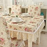 Pastoralen kleinen frischen Esstisch runden Tisch Tischdecken Kaffeetischdecke Champagner ros (Size : 90x90cm+23cmVertical edge)