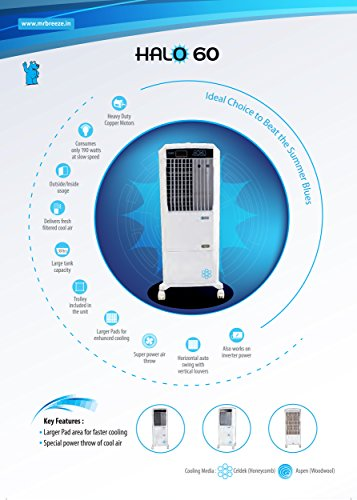 Mr. Brezee Halo60 Air Cooler without Remote (White)