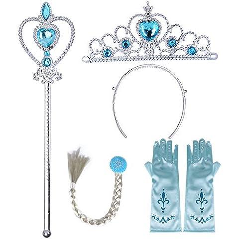 Conjunto de 4 pcs Accesorios de Corona Diadema, Varita Mágica, Peluca y Guantes de Reina Elsa para Niñas como Regalo para Disfraz, Fiesta, Cumpleaños y Carnaval