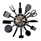 CNCN 1 Pezzo Personalizzato da 12 Pollici da Cucina in Vinile da Parete Orologio da Tavolo Coltello e forchetta Cucchiaio da tavola Orologio da Parete Orologio da Parete Posate Wall Art