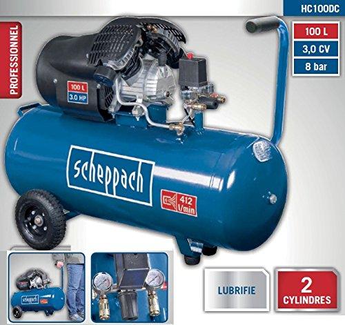 Preisvergleich Produktbild Scheppach Kompressor HC100DC, 230 V, 50 Hz, 2200 W, 1 Stück, blau / schwarz, 5906120901