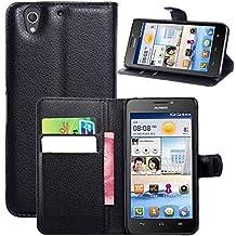 Guran® Funda de Cuero Para Huawei Ascend G630 (5.0 pulgada) Smartphone Tirón de la Cubierta de la Función de Ranura Tarjetas y Efectivo Caso-negro