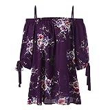 VEMOW Sommer Neue Mode Elegante Damen Mädchen Frauen Plus Größe Blumendruck Slash Neck Kalte Schulter Hailf Sleeve Bluse Casual Tops Camis Pullover Tees (Lila, EU-46/CN-2XL)