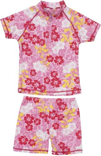 Playshoes Baby - Mädchen Schwimmbekleidung 460172 2 tlg. Badeset Hawaii bestehend aus Badeshirt und Badehose, UV-Schutz nach Standard 801, Gr. 62/68, Pink (original)