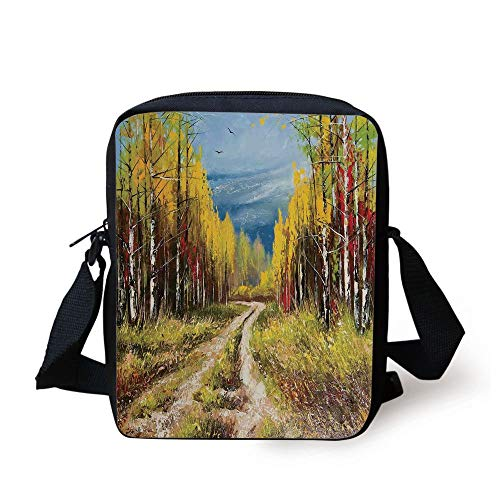 CBBBB Country Decor,Eart Road Path Between Trees in The Fall Autumn with Nature Rural Art Work,Blue Yellow Brown Print Kids Crossbody Messenger Bag Purse - Country Path Light
