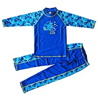 Banner Bonnie Big Boys' Lycra Long Sleeve 2-pieces Sun Protective Rashgurad Swimsuits Set UV UPF 50+ Blue 10-11
