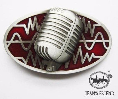 boucle mode Homme ceinture western homme country original cowboy microphone rouge les ondes sonores