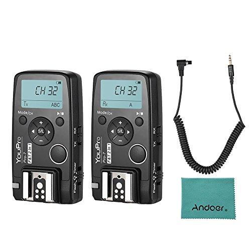 Andoer Pro-7 Wireless Shutter Timer Fernbedienung und Flash Trigger 2in1 mit N3 2,5mm PC Sync & Shutter Kabel für Canon 7D 7DII 6D 5DII 5DIII 5DIV 5DS 5DSR 50D 40D 1D 1DS mit Andoer Reinigungstuch Flash Trigger-set