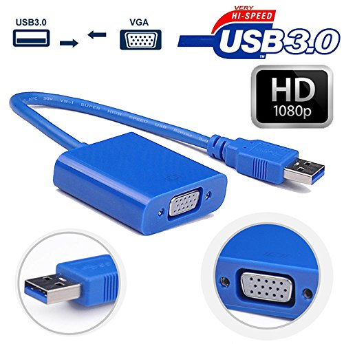 Rts™ Super Speed USB 3.0 to VGA Adapter Stability Multi-display Video Converter for PC/Laptop/Tablets Windows 10/8.1/8/7/XP (Blue)