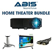 ABIS Projector Bundle: HD Smart LED Projector with Projector Screen, Ceiling Mount/Tripod Stand, 10m HDMI for Home Cinema, Gaming and Multimedia (HD6000+ Black + 100
