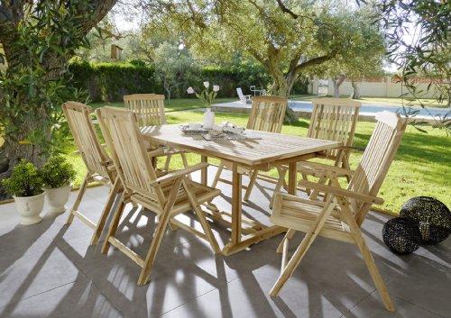 SAM® Teak-Holz Garten-Gruppe Gartenmöbel 7tlg, Balkon-Gruppe bestehend aus 1 x Tisch + 6 x Stuhl, zusammenklappbare Stühle, leicht zu verstauen [53262606]
