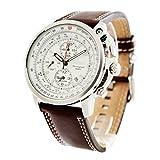 Seiko - SNAB71P1 - Alarm Chronograph - Montre Homme - Quartz Chronographe - Cadran Blanc - Bracelet Cuir Marron