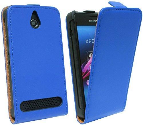 ENERGMiX Handytasche Flip Style für SONY XPERIA E1 in Blau Klapptasche Hülle