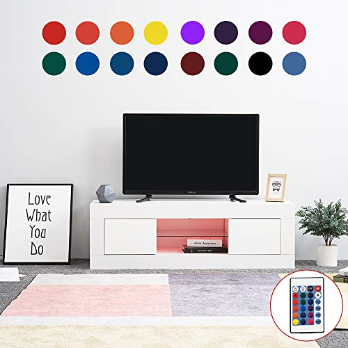 LED Meuble TV en Verre avec 2 Portes sur Salle de Séjour, Salon et Chambre à Coucher etc, Taile: 125 x 35 x 40 cm