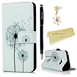 A3 2017 Case ,Galaxy A3 Case (2017 Model) - Mavis's Diary Wallet Flip Bumper Cover PU Leather Case Shockproof Prints Design with Soft Inner TPU Case Slim Fit Folio Stand Protective Magnetic Closure Cover with Dust Plug & Stylus for Samsung Galaxy 2017 A3 - Dandelions