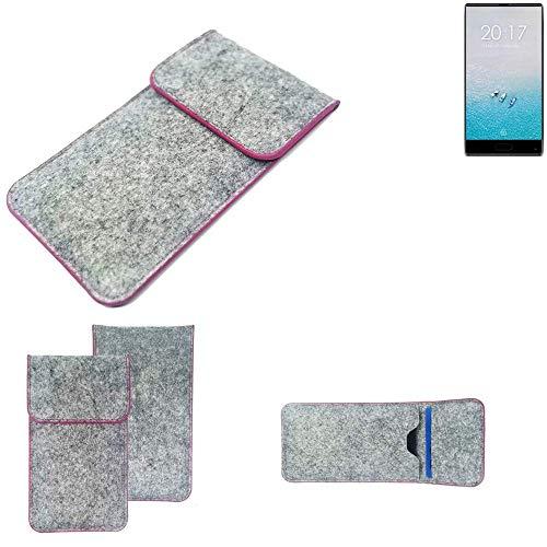 K-S-Trade® Filz Schutz Hülle Für Ulefone F1 Schutzhülle Filztasche Pouch Tasche Case Sleeve Handyhülle Filzhülle Hellgrau Pinker Rand