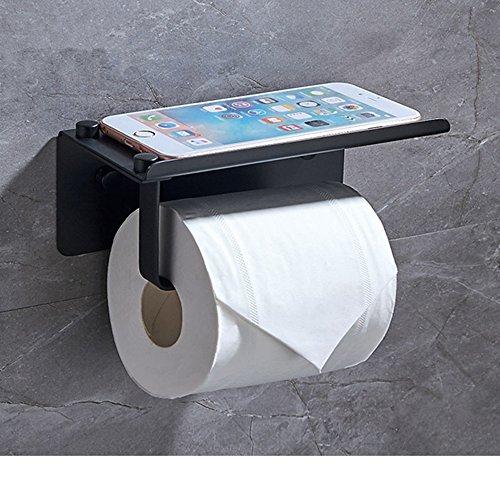 Rostfreier Stahl Toilettenpapierhalter Quadratische Badezimmer Papierrolle Kleiderbügel Klopapierhalter Mit Handyablage (C) (Glas-plattform Quadratische)