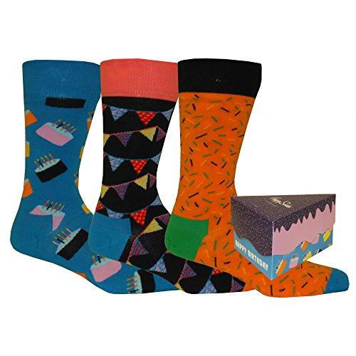 Paquete De Regalo De Calcetines Happy Socks Pack 3 Feliz Cumpleaños Hombres, Azul/naranja/azul Marino Happy Socks