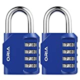 ORIA 2 Pack Kombinations Zahlenschloss, 4-StelligesKombinationsschloss Vorhängeschloss, Gym Lock Steel Combination Lock für Schule, Gym & Sports Locker, Case Aktenschränke, Angestellte - Blau