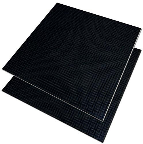 Katara 1672 kompatible Bauplatte, dunkel-graue Grund-Platte zum Bauen, kompatibel zu Lego, Q-Bricks, Asmodee, Sluban und anderen Markenherstellern, 2er Set, Schwarz, 40 cm x 40 cm, 50x50 (Passt Ostern)