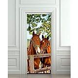 MYLOOO DIY 3D Wandaufkleber Wandbild Home Decor Pferde Stall Scheune Abnehmbare Tür Aufkleber Decale 77 * 200 cm