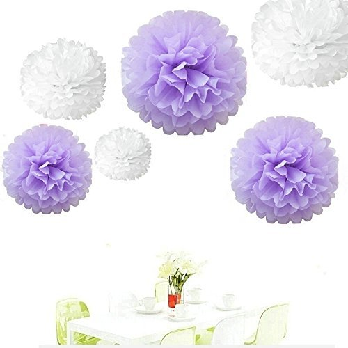 (Since ® 12pcs 8inch 10 inch 14 inch Tissue Paper Pom-poms White Lavender Outdoor Decoration Tissue Paper Pom Poms Party Balls Wedding Christmas Xmas Decoration)