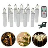 AUFUN LED Kerzen 40 Stück Weihnachtskerzen mit Fernbedienung Warmweiß LED Kerzen Outdoor Weinachten LED für Weihnachtsbaum, Weihnachtsdeko, Hochzeitsdeko, Party, Feiertag