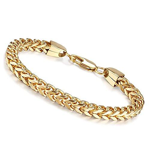 Potok Mens Bracelets 316L Stainless Steel 6mm Wide Charm Wrist Bangle Chain Bracelets High Polished, 9.1 Inch