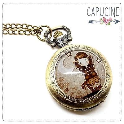 Montre Gousset bronze avec cabochon verre fillette - Sautoir montre - Ballade Nocturne