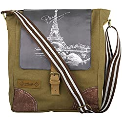 Unisex Messenger Bag designed by ALMOLFA in 12 OZ Cotton Canvas -Biking Bag - Military Green-Shoulder Bag-College-Cycling - Bag for Boys Girls Men Women -13 inches x 11 Inches
