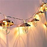 Vintage Lampenschirm Lichterketten,KINGCOO LED Rosé Gold Metall Vintage Laterne Käfig Batteriebetriebene Fairy String Lights Groß für Home Patio Schlafzimmer Garten Hochzeit Innenausstattung (20 LEDs warmweiß)