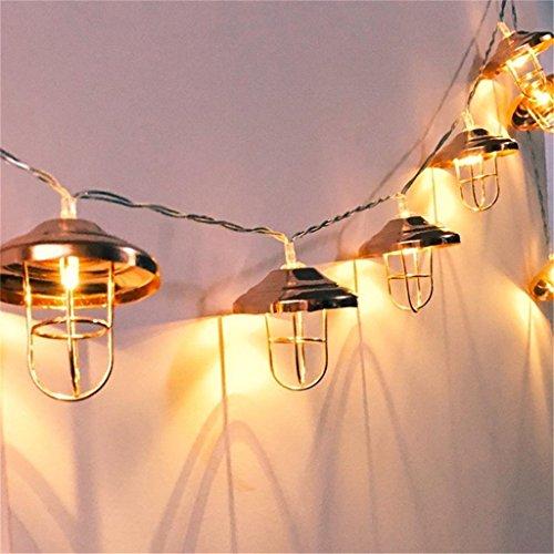 Vintage Lampenschirm Lichterketten,KINGCOO 20 LEDs Rosé Gold Metall Laterne Käfig Lichter Batteriebetriebene für Home Patio Garten Hochzeit(Warmweiß) - Led-vintage Laterne