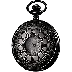 KS Half Hunter Steampunk Antiqued Black Case White Dial Roman Japanese Quartz Pocket Watch KSP017