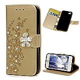 iPhone 5S Coque, iPhone 5 Coque, iPhone SE Coque, LANVY Bookstyle Étui Fleur de...
