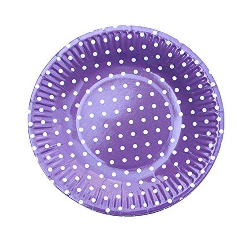 Da.Wa 10x Pappteller One Time Use Gerichte Punkte Dekoration Gericht Kuchen Platte BBQ Platte Party Dekoration Lieferungen Lila