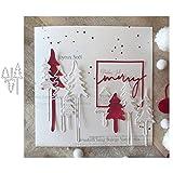kimiLike - Plantilla para troqueladora, diseño de árbol de Navidad, para Scrapbooking, Papel fotográfico, Tarjetas, estampación de Manualidades DIY Making Birthday Gift - Plata