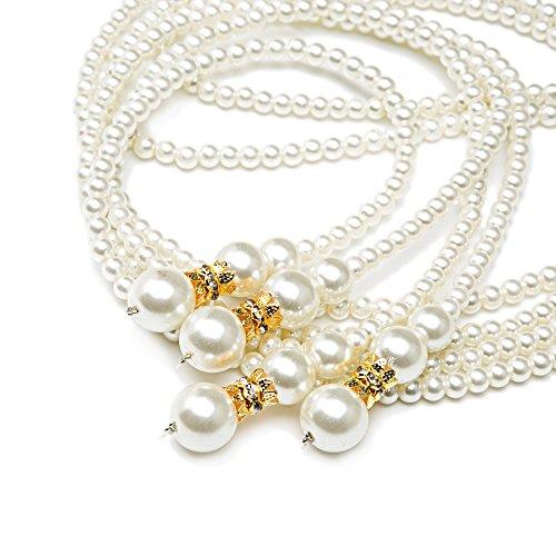 (Metme Damen Vintage 1920er Jahre Gatsby Flapper lange Perlenkette Zubehör für Party (Gold))