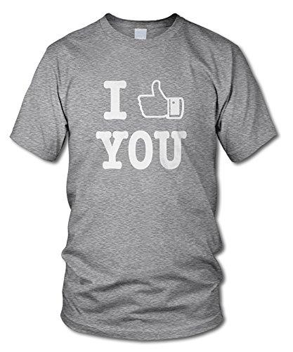 shirtloge - I LIKE YOU - FUN T-Shirt - KULT - in verschiedenen Farben - Größe S - XXL Grau-Meliert (Weiß)