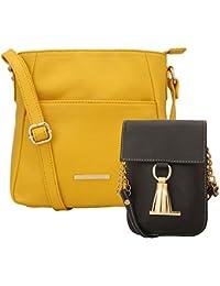 Lapis O Lupo Combo Yelou Women Sling Bag And Mobile Sling Bag (Yellow,Brown)