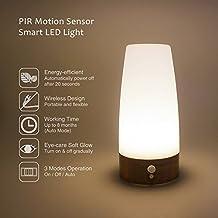 Lampara de Mesita de Noche LED de Bateria con Sensor de Movimiento Inalambrica Iluminacion Blanco Calido Forma Redonda de Enuotek