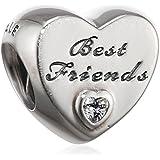 Pandora Damen-Bead Best Friends-Herz 925 Silber Zirkonia transparent - 791727CZ